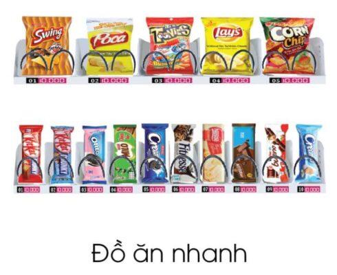 Các sản phẩm đồ ăn nhanh bán trên máy bán hàng tự động TSE-V01