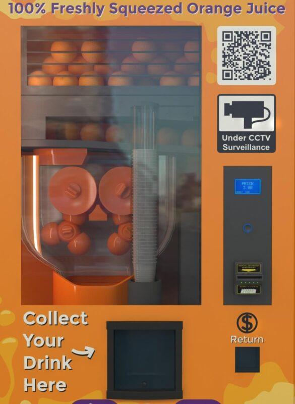 Cận cảnh máy bán nước cam tự động